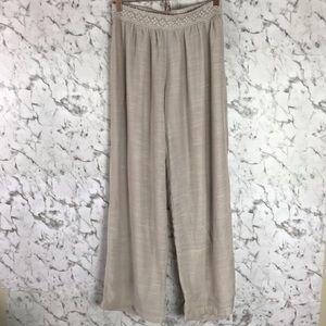 Linen Grey Beige Wide Leg Pants
